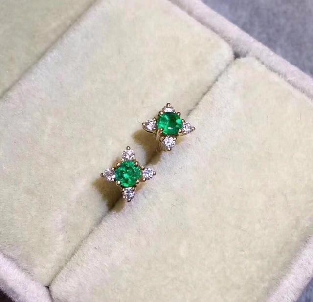 2018 women ear stud fashion jewelry Green nature Emerald 925 Sterling Silver Stu
