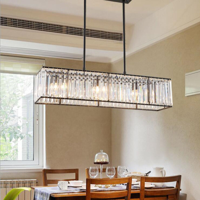 American crystal chandelier modern minimalist restaurant bar lamp European retro iron dining led lamps table lighting fixture m best price 55cm nordic minimalist crystal lamp drops e14 led lamp lighting american retro aisle dining room iron chandelier