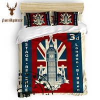 Family Decor Vintage London Stamp 4 Piece Bedding Sets Comforter Sets All Soul's Day Father's Day Columbus Day Living Room