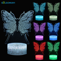 GOLDENKAYI 3D LED Originality Night Lights Atmosphere Visual Lamp Touch Butterfly Bedside Seven Colors Light Gift For Birthday