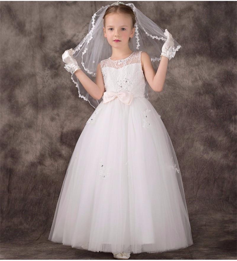 2019 Elegant White Ivory Tulle   Flower     Girl     Dresses   Sheer Neck Appliques & Lace Beaded First Communion   Dresses   for   Girls   Custom