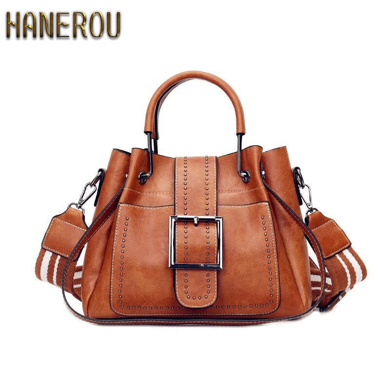 Bags For Women 2019 New Fashion PU Leather Handbags Crossbody Bag For Women Vintage Bucket Shoulder Bag Ladies Handbag Sac Femme Сумка