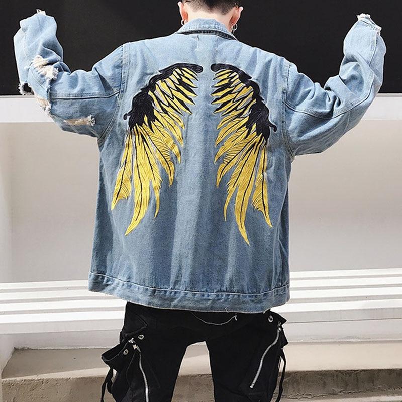 Bending line Man Denim Jackets Coat Embroidery Wing Denim Jackets 2018 Male Hip Hop Streetwear Men Mens Clothes Cotton jacket