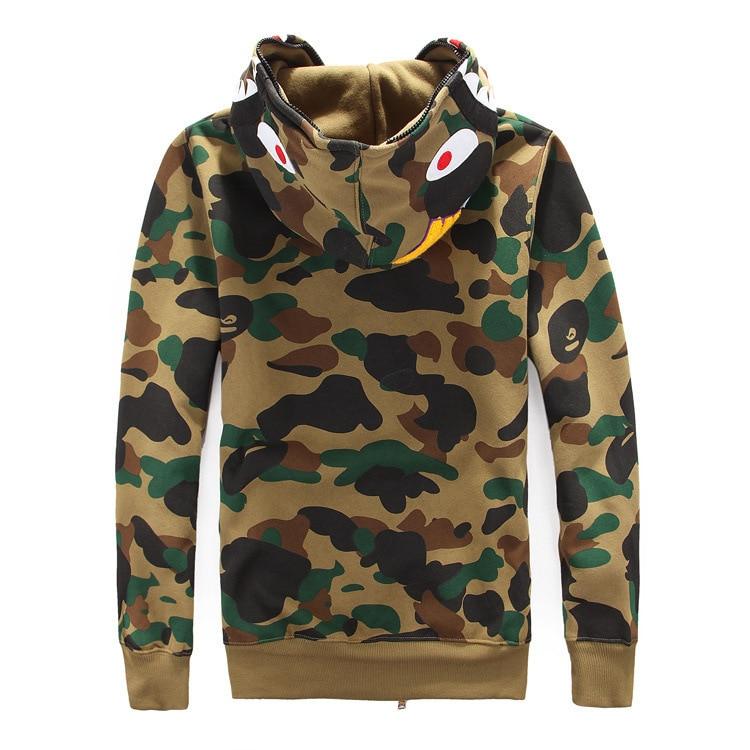 279a062e23cc High quality Men s full zipper bape shark hoodie camouflage Army Military  fleece hoodies and sweatshirts winter mens camo jacket-in Hoodies    Sweatshirts ...