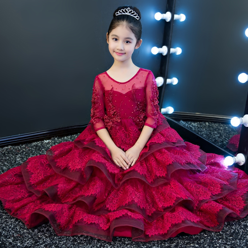Gorgeous Red Flower Girl Dresses Wedding Lace Up Ball Gown Holy Communion Dress Embroidery Beading Princess Dress Birthday Party elegant glitz embroidery lace up flower girls dresses kids teenagers half sleeves bowknot holy communion birthday party dress