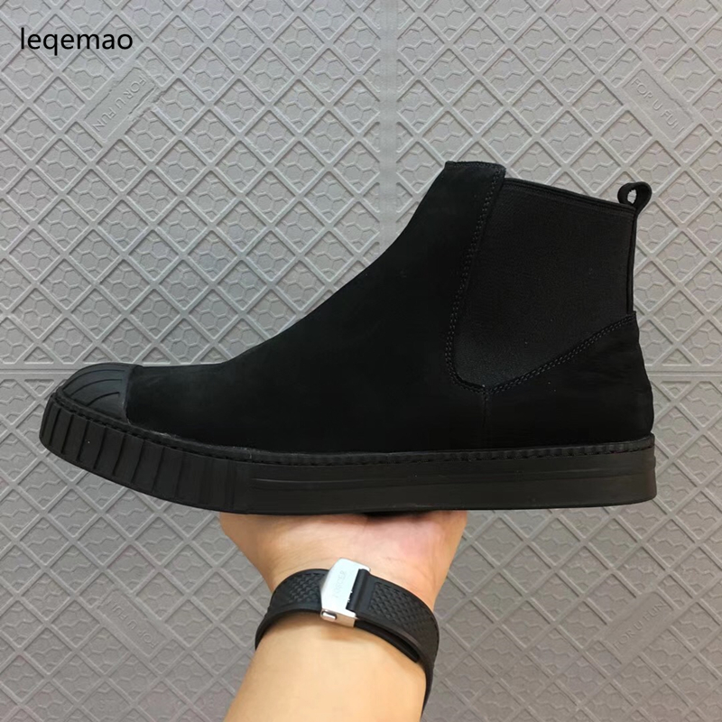 Fashion Men Boots New Arrival Shoes Basic High-TOP Ankle  Nubuck Leather Owen Luxury Trainers Men Boots Casual Flats Snow Shoes lozoga new men shoes fashion boots ankle 100