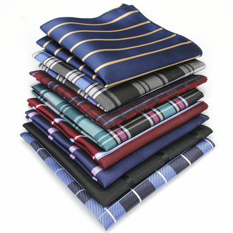 16 PIECES Fashion Men's Polyester Silk Pocket Squares Stripes Jacquard Handkerchiefs for Suits Jackets Wedding Party Business