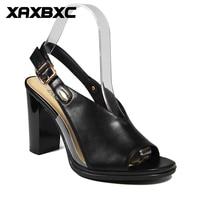 Xaxbxc 2018 الصيف الرجعية النمط البريطاني تصليحه جلد شفاف بو عال الصنادل السيدات أحذية الزفاف اليدوية
