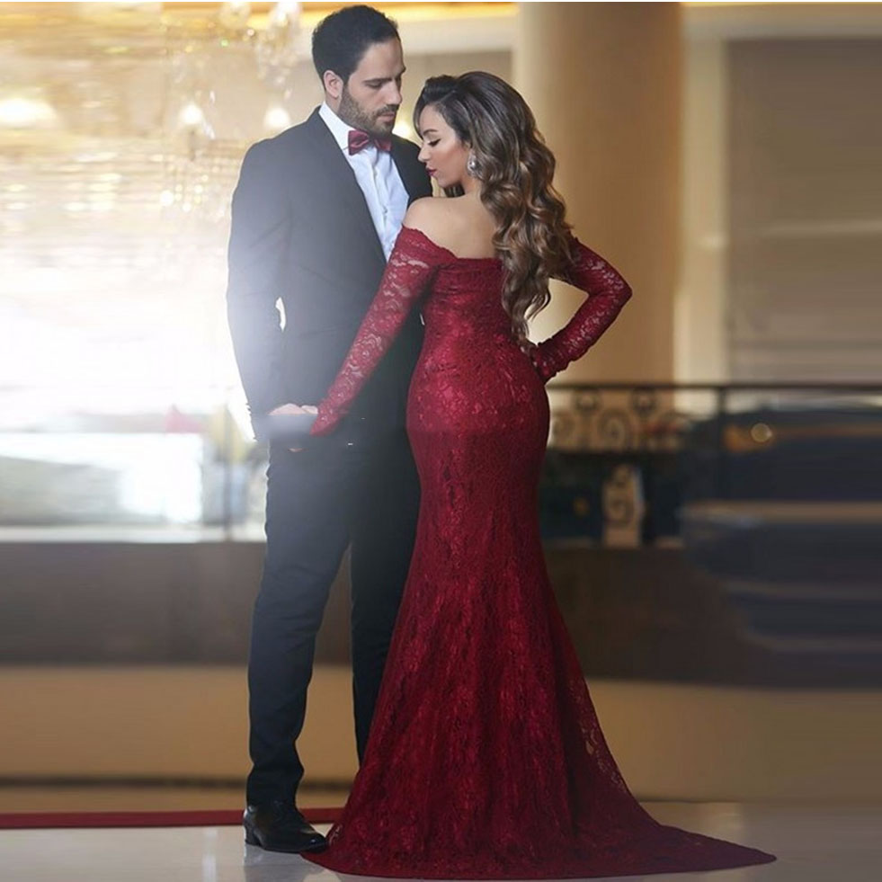 a8eb50e42f36 Burgundy Long Elegant Evening Dress With Long Sleeve Off Shoulder Full Lace  Mermaid Prom Dress Cheap Vintage Formal Gowns-in Evening Dresses from  Weddings ...