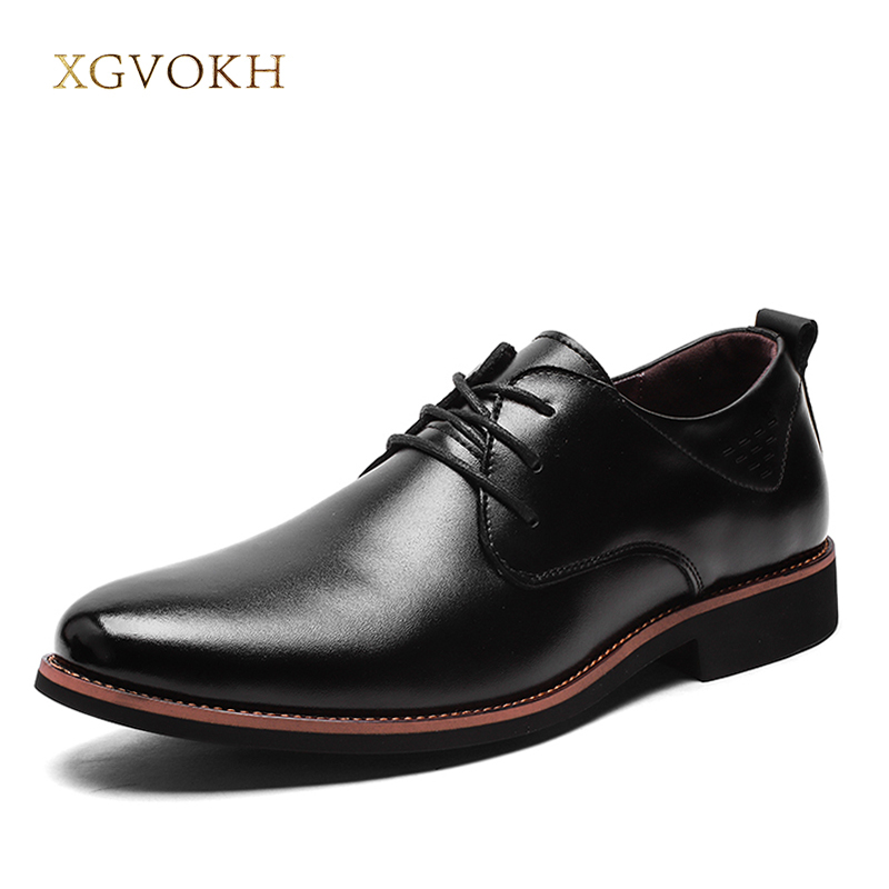 Men's Genuine Leather Business Formal Shoes Foot Shoe Fashion Shoes Oxford Flat Breathable Lace-Up XGVOKH Brand british fashion men business office formal dress breathable genuine leather shoes lace up oxford shoe pointed toe teenage sapato
