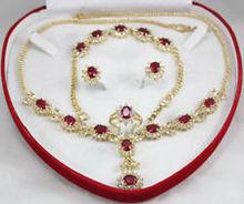 brinco wedding silver fine quality jewelry word Fashion jewelry Set red Crystal zirconia necklace Bracelet Earring Ring