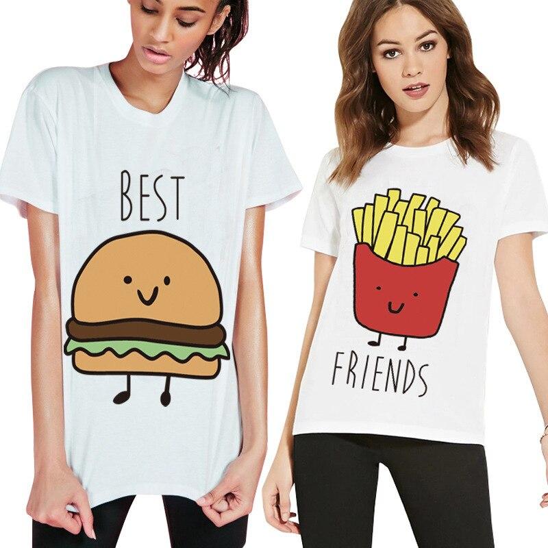 Cute Plus Size 4XL Best Friends T Shirt Print Tee Shirt Femme Girls Camiseta Mujer Tops Short Sleeve TShirt Casual White T Shirt