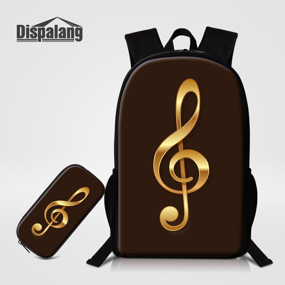 Dispalang, комплект из 2 предметов, рюкзак, чехол карандаш с музыкальным принтом, школьные сумки для подростков, девочек и мальчиков, уникальный д