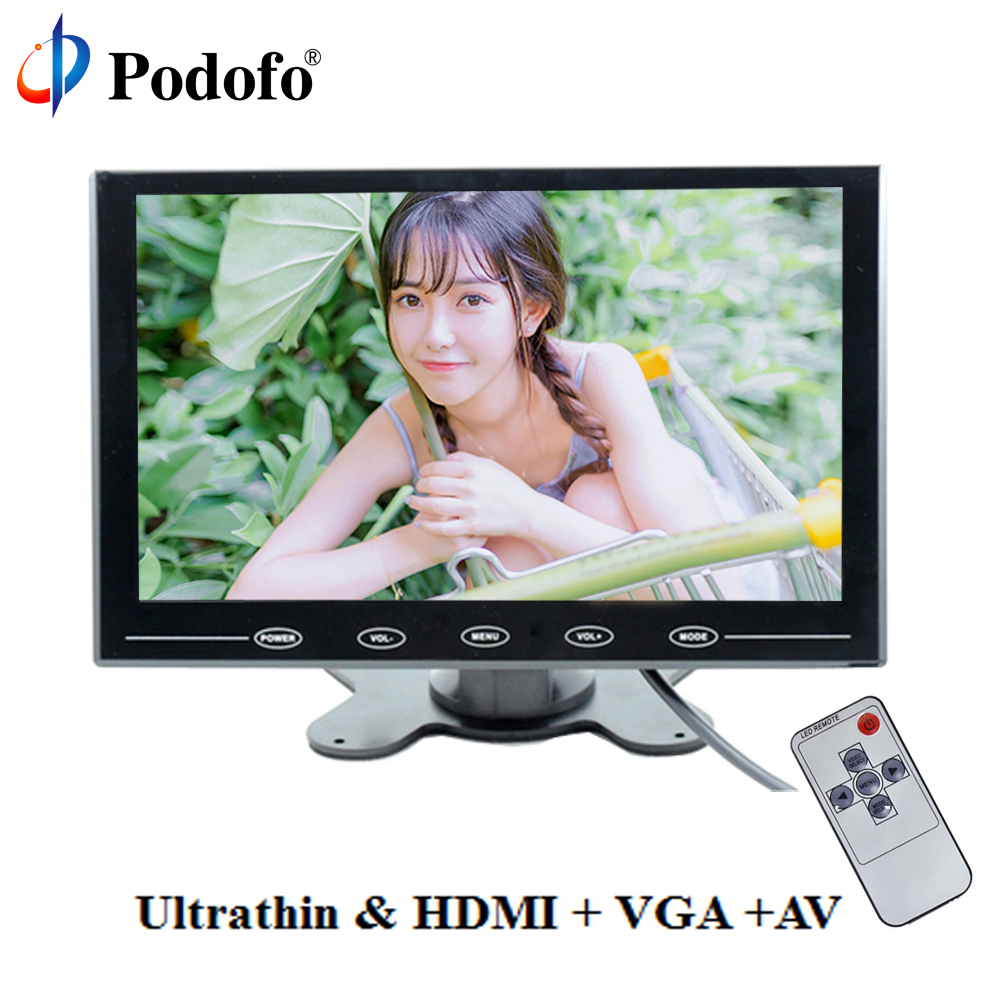 Podofo 9 LCD Monitor TFT Mini Color Monitor 2 Video Input Car Monitor Display Screen For PC CCTV HDMI AV-In Security Monitor 10 1 tft lcd color thin 2 video input pc