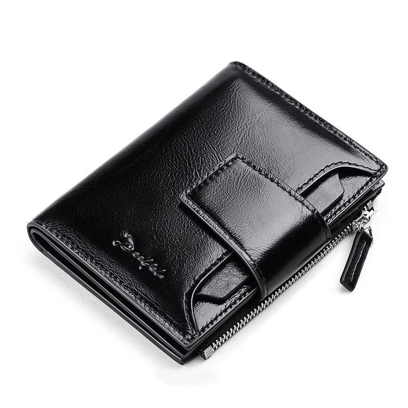 Pocket Purse Wallet Small Card-Holder Short Cowhide
