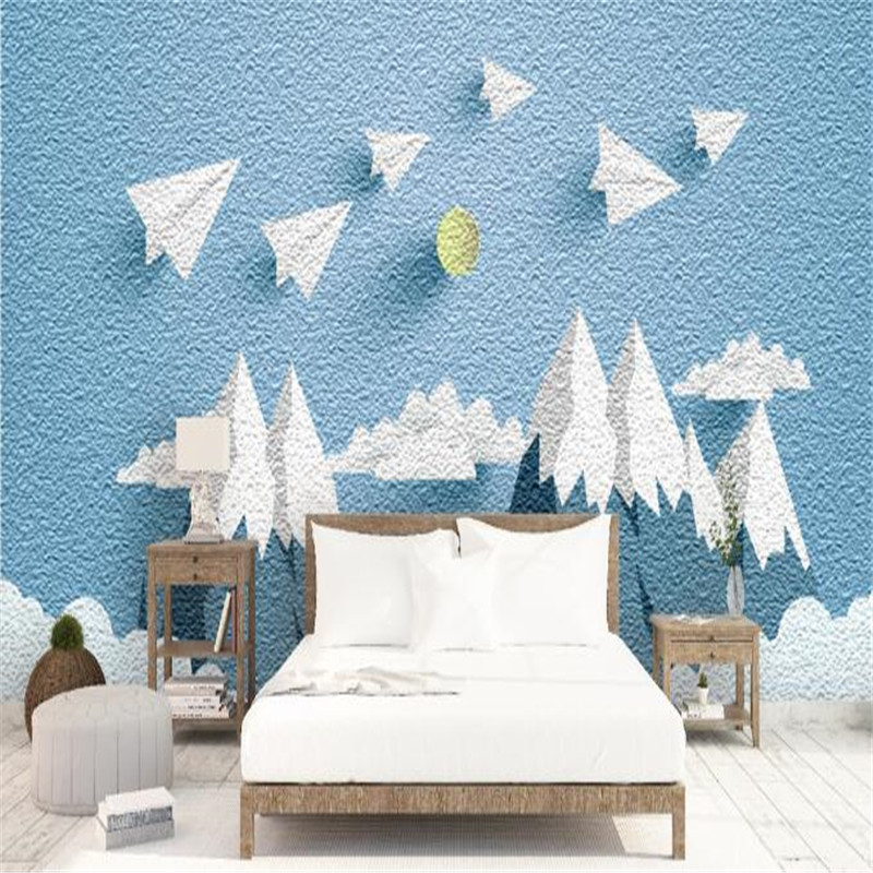 Custom Photo Wallpapers Blue Wallpaper Roll Mountain Aircraft Wallpaper Kids Wall Murals for Children Room Creative Theme Hotel спальный мешок blue mountain b031 3