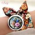 Shsby дизайн Дамы цветок ткань наручные часы мода женщины платье часы высокого качества ткань смотреть сладкие девочки часы Браслет