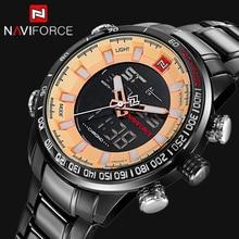 NAVIFORCE Top Marca de Lujo de Los Hombres Se Divierte Los Relojes Digitales de Los Hombres Reloj de Cuarzo Hombre de Acero Militar Led Relojes de Pulsera Relogio masculino