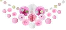 цена на 20pcs/set Pink Party Decoration Kit Circle Garland Paper Fans Lanterns Pom Poms for Wedding Princess Birthday Party Showers