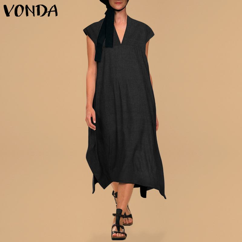 Vintage Dress Women VONDA 2020 Summer Sexy V Neck Short Sleeve Split Casual Loose Long Party Dresses Vestidos Plus Size
