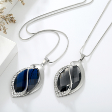 Oval Blue Crystal Necklace & Pendant Sweater Chain for Women