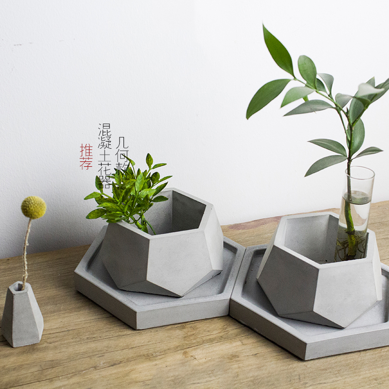 Cement Plant Flower Pot Decorative Silicone Molds Concrete Molds DIY Clay Molds Gypsum Tray Mold