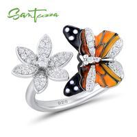 SANTUZZA Silver Ring For Women 925 Sterling Silver Enamel Butterfly Flower Rings Cubic Zirconia Ringen Party Fashion Jewelry