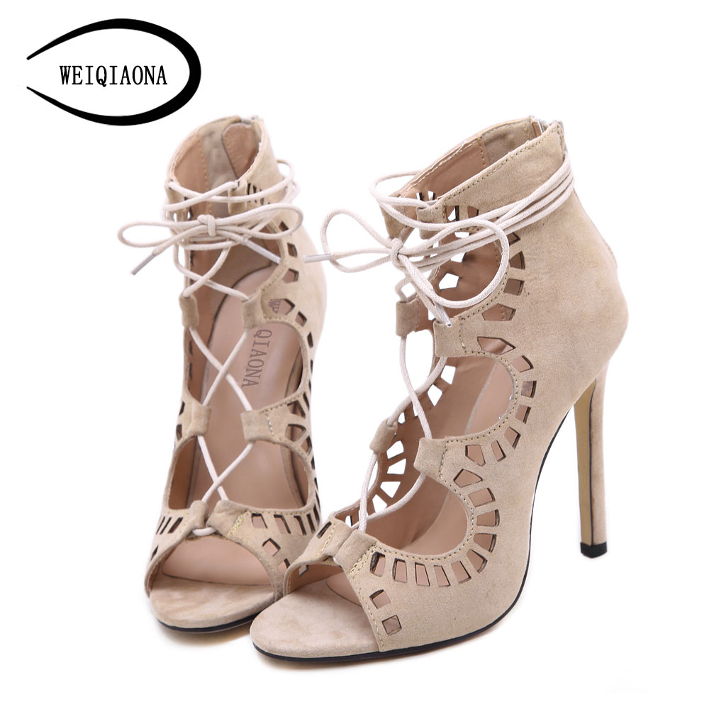 Plus size 35-43 Women Pumps Brand Designer High Heels Cut Outs Lace Up Open Toe Party Shoes Woman Gladiator Sandals Women Ladies sexy open toe cut outs high heels women gladiator sandals black leather lace up thigh high boots woman botas size 35 43