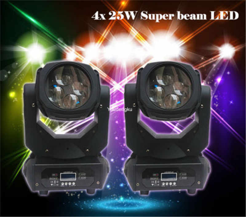 2pcs/lot  led dmx moving head set 4-in-1 led moving head super beam 4x25 w rgbw moving head led