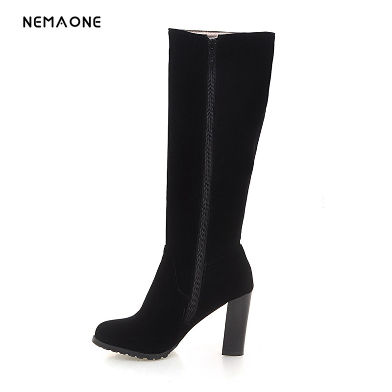 NEMAONE Side Zipper Knee-high Riding Boots Women High Thick Heel Winter Boots black color egonery shoes 2017 women knee high boots side zipper black square toe solid color high quality short plush fashion riding boots