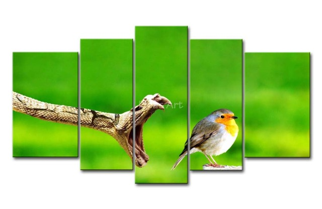 5 Piece Green Wall Art Painting Fear Snake Death To A Little Bird Print On Canvas The Picture Animal 4 3 Pictures