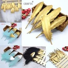 20 قطع جميلة الذهب رذاذ أوزة ريشة الحرفية diy الحلي الرياح الدقات / مجوهرات الديكور