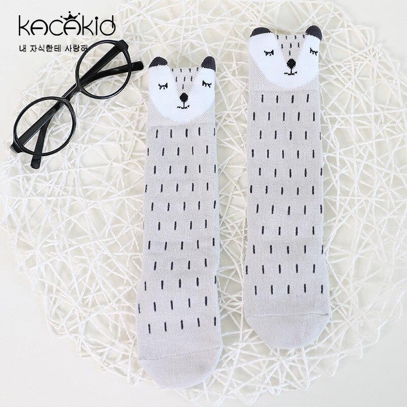 Kacakid Autumn new childrens cartoon socks baby boy girls non-slip socks kids fashion small long socks