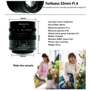 Image 2 - 7 אומנים 55mm F1.4 גדול צמצם דיוקן פוקוס ידני מיקרו מצלמה עדשת Fit עבור Canon EOS M הר E הר פוג י FX כמות