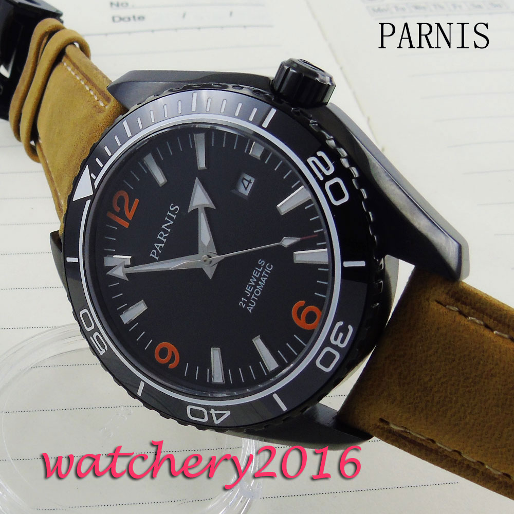45mm Parnis black dial date PVD case camel leather strap Sapphire Glass Ceramic Bezel Automatic Mens Watch