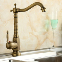 Antique Faucet Brass Finished Hot Cold Mixer Taps Deck Mounted Luxury Appearance AF1001