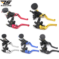 ZS Racing Universal CNC 22mm Motorcycle Brake Clutch Levers Master Cylinder Reservoir Set For Honda Suzuki