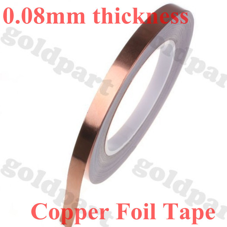(0.08mm thick) 100mm*30M Single Face Adhered Electric Conduction Copper Foil Electromagnetic wave shield Tape fit for Cellphone 2 roll 6mm 30m 0 06mm adhesive single electric conduct copper foil tape for electromagnetic wave radiation emi shield mask