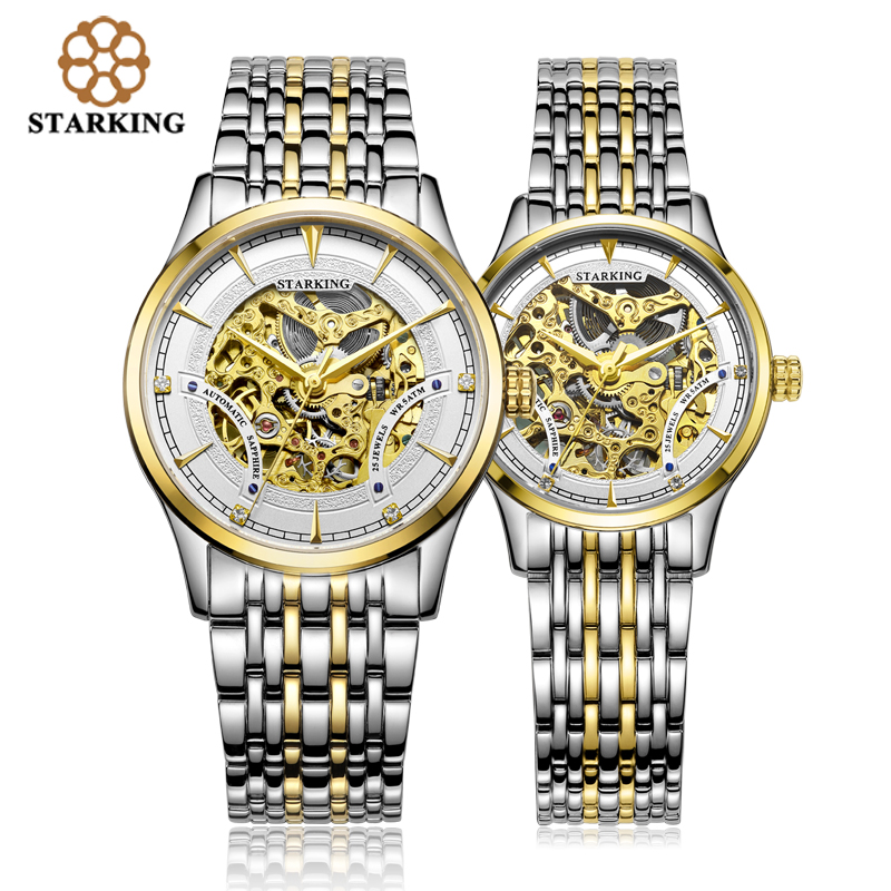 StarKing Luxury Golden Skeleton Automatic Watches Unisex font b Women b font And Men Couple Clock