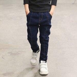 IENENS/От 5 до 13 лет, длинные джинсы для мальчиков, повседневные облегающие прямые джинсы для мальчиков, классические брюки для детей