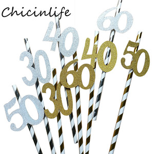 Image 2 - Chicinlife 10pcs Paper Straw With number 30 40 50 60 Drink Straw For Birthday/Wedding Anniversary Birthday Party Decoration