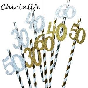 Image 2 - Chicinlife pajita de papel con número 30 40 50 60, Pajita para beber para cumpleaños/aniversario de boda, decoración de fiesta de cumpleaños, 10 Uds.