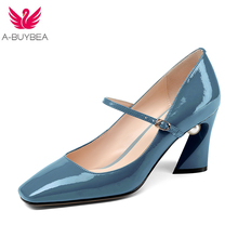 Mary Janes shoes fashion brand shoes Cow Leather pearl buckle straps round toe thick high heels wedding women pumps 2018 Spring стоимость