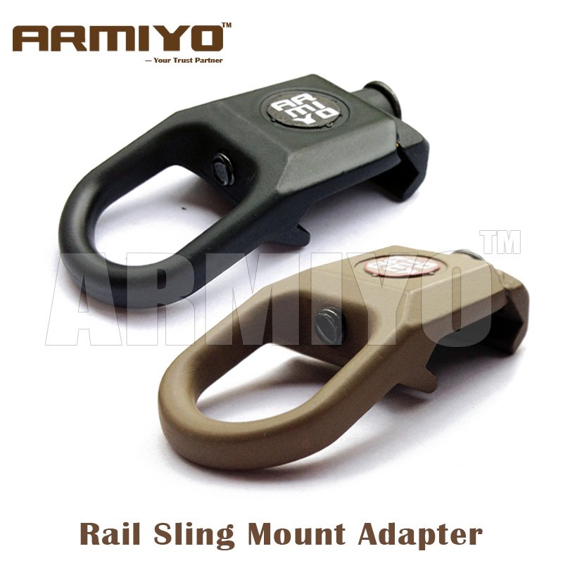 Armiyo Rail Sling Swivel Attachment 20mm Weaver Airsoft Handguard Mount Adapter Hunting Shooting Paintball Accessories m4 universal steel sling mount adapter black