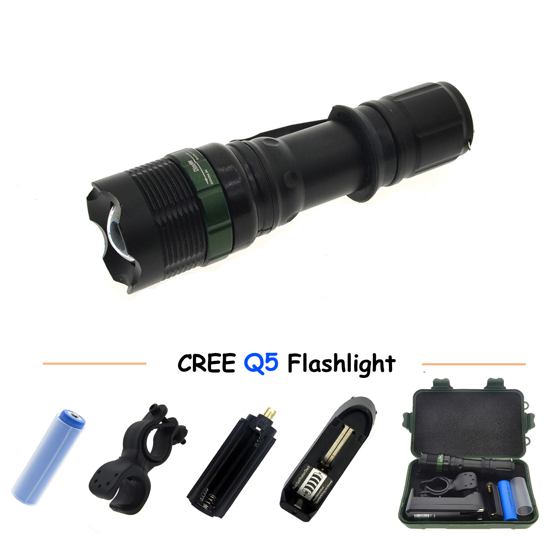 Flashlight CREE Q5 LED Torch Zoomable Cree LED Flashlight Torch light Recharger + 18650 battery + gift box