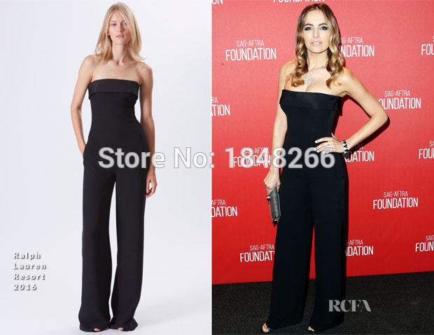 ph15959 sleek strapless tuxedo style jumpsuit with wide