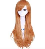 Turuncu anime cosplay saç asuna cosplay saç sword art online turuncu uzun saç prenses saç anime parti malzemeleri