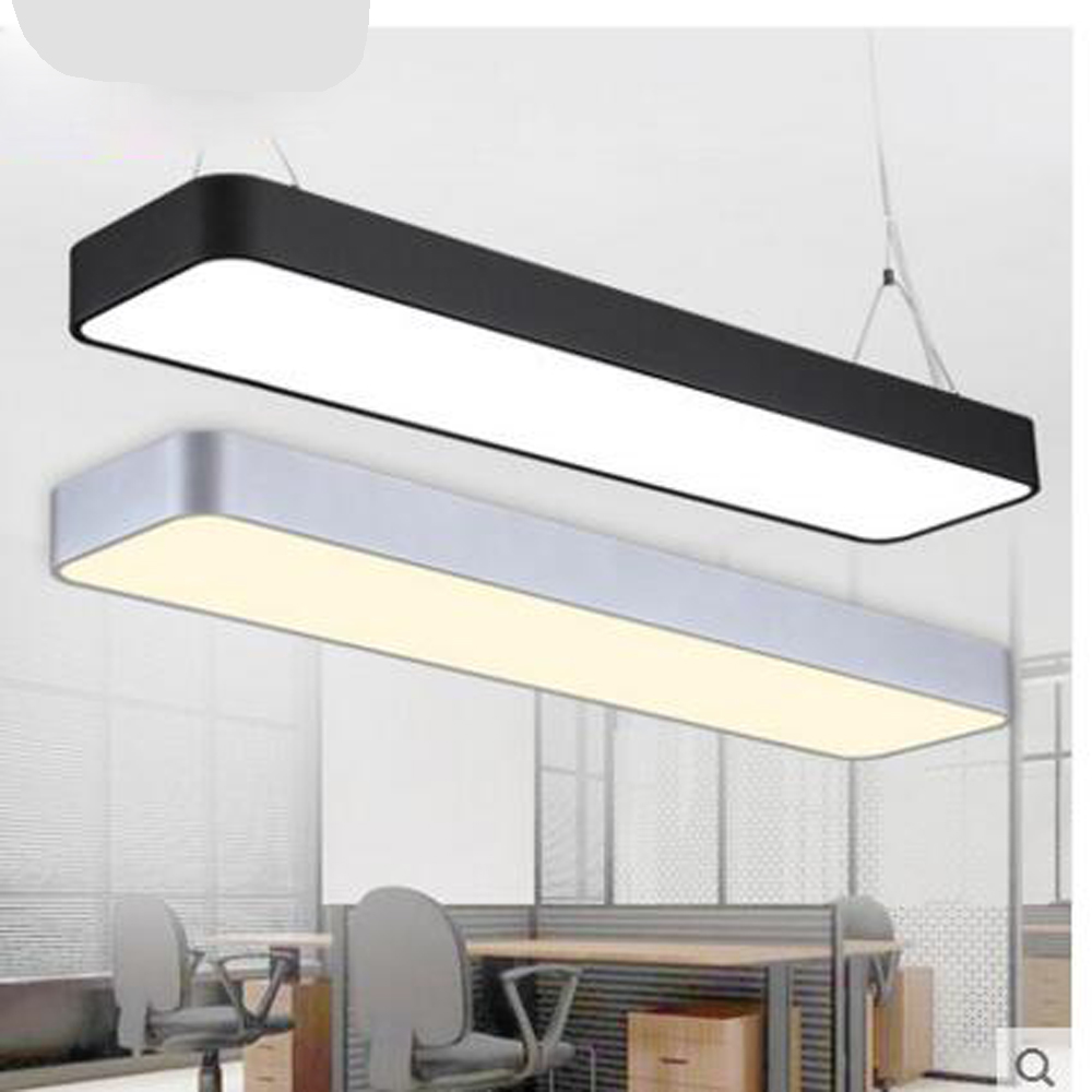 Office chandeliers led strip lights creative personality modern office chandeliers led strip lights creative personality modern simple meeting room rectangular sunshine lighting fixture led in pendant lights from lights mozeypictures Image collections