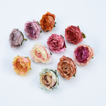 5pcs 4cm Silk Retro roses heads vases for decoration wedding car home fake floristics artificial flowers wall diy gifts brooch 9 heads silk roses bouquet fake leaf wedding home party vases for new year decoration european fall cheap artificial flowers