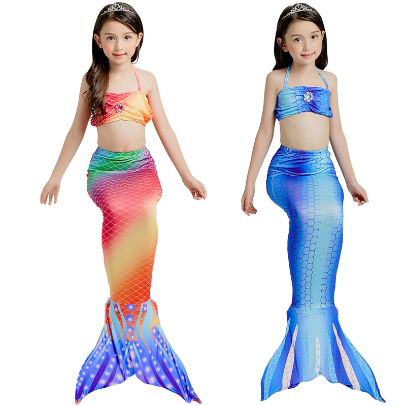 3PCS/SET Baby Girls Kid Cosplay Mermaid Tail Dress Costume Mermaid Tail Cloth Swimsuit Mermaid Costume Tail Only Without Monofin